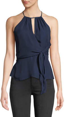 Parker Sally Halter-Neck Top with Tie-Front Detail