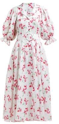 Gül Hürgel Floral Print V Neck Linen Midi Dress - Womens - Pink White