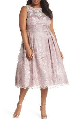 Adrianna Papell Metallic Embroidered Tea Length Dress