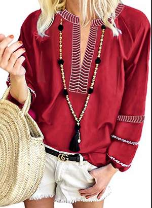 Actloe Women Casual Long Sleeve Solid Shirts V Neck Boho Embroidered Blouses and Tops Medium