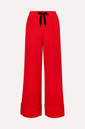 Roland Mouret Betterton Silk-satin Jacquard Wide-leg Pants - Red