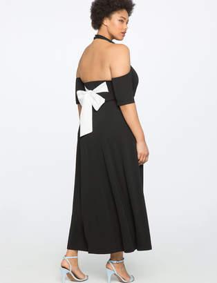 ELOQUII Cold Shoulder Scoop Back Dress