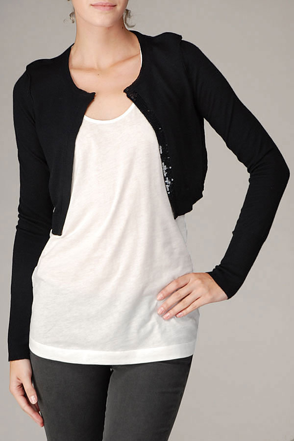Cropped Sequin Trim Cardigan