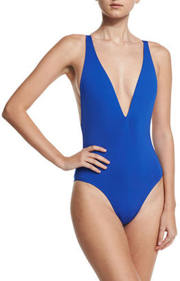 Proenza Schouler Solid Plunge-Neck One-Piece Swimsuit $310 thestylecure.com