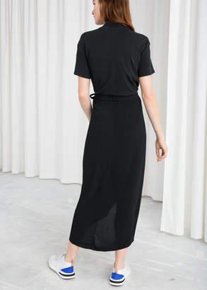 Curved Hem Midi Wrap Skirt