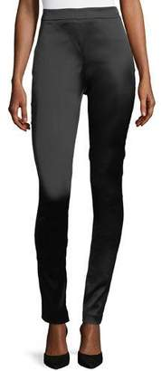 Theory High-Waist Side-Zip Satin Leggings