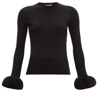 Valentino Chiffon Trimmed Ribbed Knit Sweater - Womens - Black