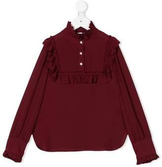 Dondup Kids ruffle trim long sleeve blouse