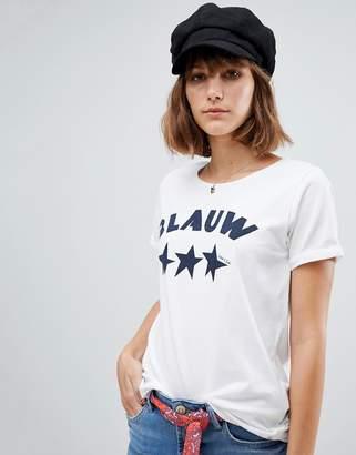 Maison Scotch Blauw Print T-Shirt