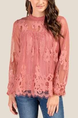 francesca's Laura Long Sleeve Lace Blouse - Rose