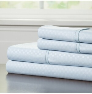 Baldwin Home Brushed Microfiber King Sheets Set- 4 Piece Hypoallergenic Bed Linens with Deep Pocket Fitted Sheet and Embossed Design Bedding
