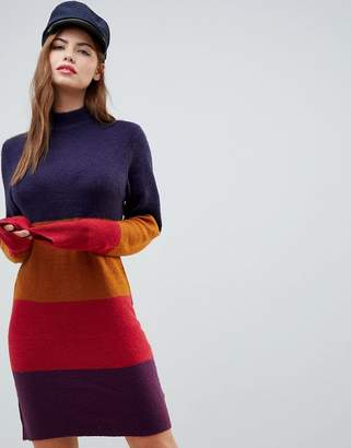 Brave Soul Lanny Sweater Dress in Block Stripe