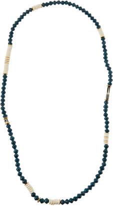 Akola Long Paper, Bone & Brass Beaded Necklace, Dark Teal