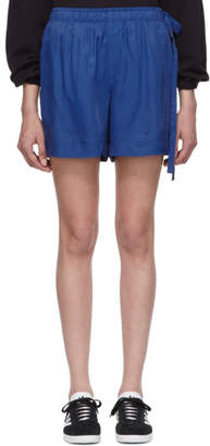 Helmut Lang Blue Viscose Pull-On Shorts