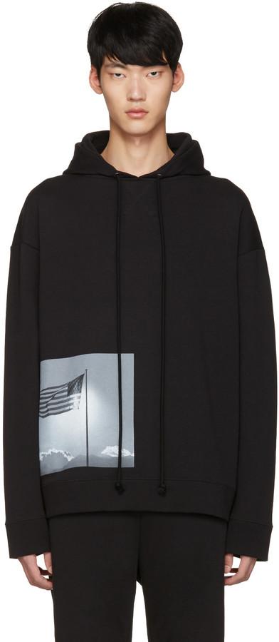 Raf Simons Black Robert Mapplethorpe Edition American Flag Hoodie