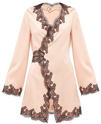Agent Provocateur Amelea Lace Trimmed Silk Blend Pyjama Top - Womens - Black Pink