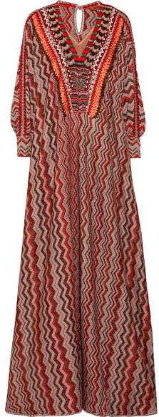 Missoni - Embellished Metallic Crochet-knit Kaftan - Red