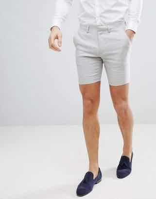 Asos DESIGN Wedding Super Skinny Suit Shorts In Ice Gray Linen