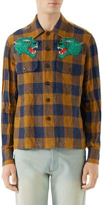 Gucci Macro Gingham Panther Applique Linen Shirt Jacket