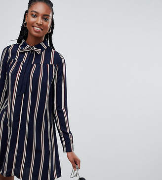 Glamorous Tall Long Sleeve Shirt Dress In Stripe
