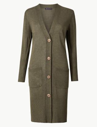 Marks and Spencer Linen Blend Longline Cardigan