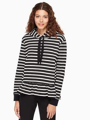 Kate Spade Fleece stripe ruffle pullover