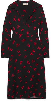By Malene Birger Botall Printed Crepe Midi Dress - Black