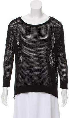 Cotton by Cashmere Patterned Knit-Mesh Sweater