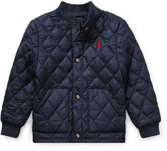 Ralph Lauren Quilted Baseball-Collar Jacket, Size 2-4