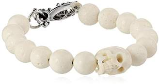 King Baby Studio 10 mm Coral Bead Skull and Silver Clasp Bracelet