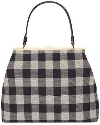 Mansur Gavriel Check Canvas Elegant Top-Handle Bag