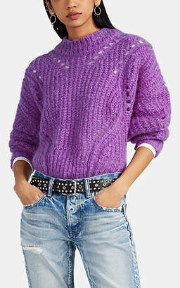 Isabel Marant Women's Irren Chunky Mohair-Blend Crop Sweater - Purple