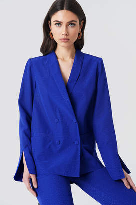 Na Kd Exclusive Jacquard Double Breasted Blazer Cobalt