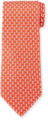 Salvatore Ferragamo Parrot Silk Tie, Red