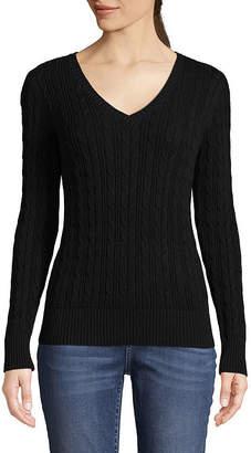 ST. JOHN'S BAY Long Sleeve Cable V-neck Sweater - Tall