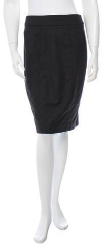Armani Collezioni Wool Midi Skirt
