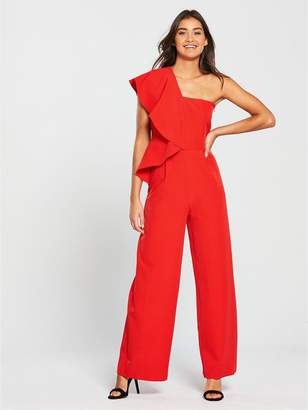 Very Asymmetric Ruffle Jumpsuit - Red
