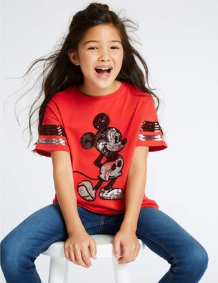 Marks and Spencer Mickey Mouse Pure Cotton T-Shirt (3-16 Years)
