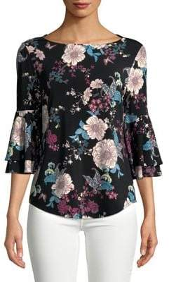 Context Floral Bell-Sleeve Blouse