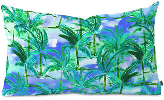 Deny Designs Amy Sia Palm Tree Blue Green Oblong Throw Pillow