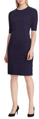 Lauren Ralph Lauren Button-Trimmed Ponte Sheath Dress