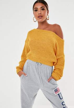 Missguided Tall Mustard Off Shoulder Knit Sweater