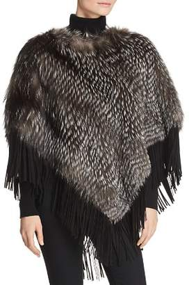 Maximilian Furs Suede-Trim Silver Fox Fur Poncho - 100% Exclusive