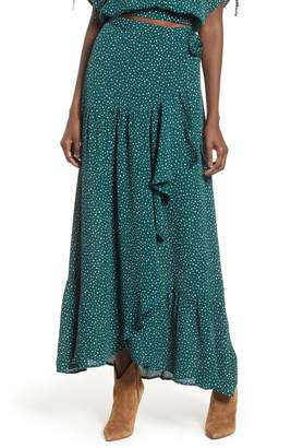 Band of Gypsies Dane Ruffled Polka Dot Wrap Skirt