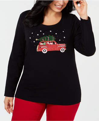 Karen Scott Plus Size Cotton Holiday-Trip Print T-Shirt