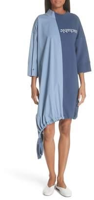 Ji Oh Asymmetrical Mixed Media Dress