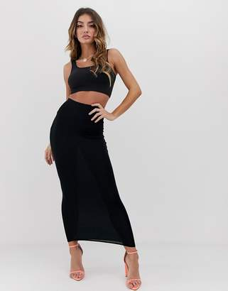 PrettyLittleThing Black Midaxi Skirt