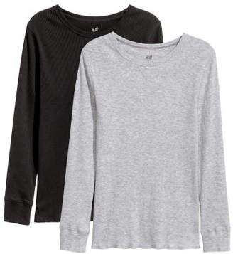 H&M 2-pack Ribbed T-shirt - Black