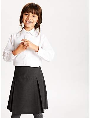 0814dd8910a4 John Lewis & Partners The Basics Girls' Long Sleeve School Blouse, Pack of 3