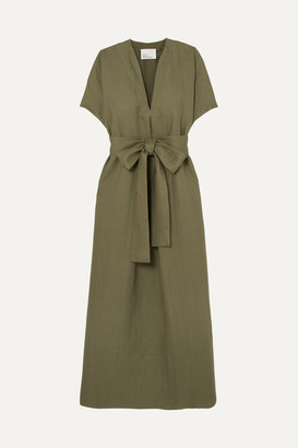 Lisa Marie Fernandez Rosetta Belted Linen Maxi Dress - Army green